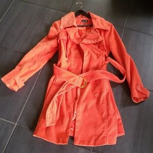 Bebe Cordory Belted Trench Coat